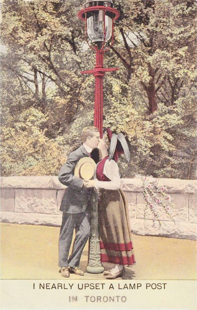 POSTCARD - TORONTO - ROMANTIC WHIMSY - I NEARLY UPSET A LAMP POST - LETTERING FOR IN TORONTO LOOKS LIKE GENERIC CARD PRINTED OVER - 1912