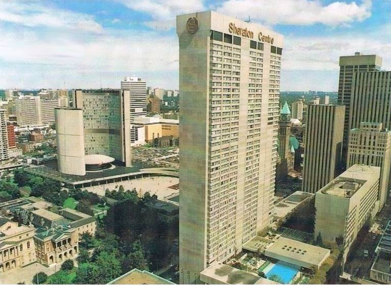 POSTCARD - TORONTO - SHERIDAN CENTRE HOTEL - 123 QUEEN W - AERIAL PANORAMA - c1972 WHEN OPENED