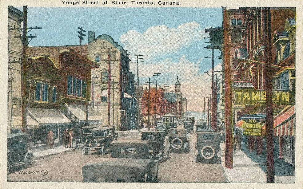 POSTCARD - TORONTO - YONGE STREET AT BLOOR - TINTED - c1920