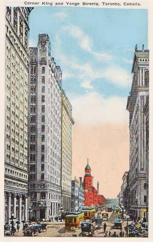 POSTCARD - TORONTO - YONGE STREET - LOOKING N FROM KING AND YONGE - TINTED - 1910s